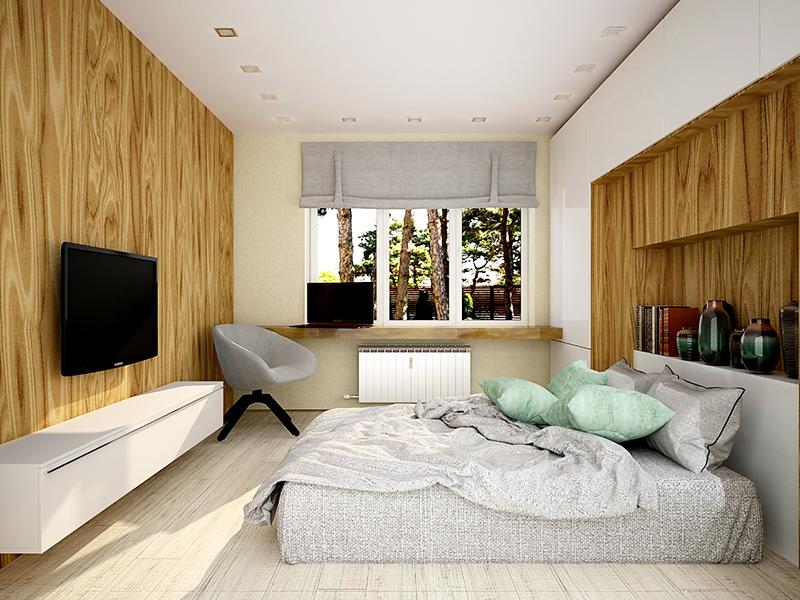 Фишкой такой комнаты может стать деревянный подоконник. Старайтесь использовать как можно меньше пластика