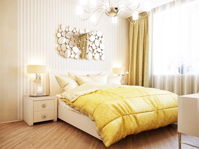 Чтобы не переполнить комнату деталями, обклейте обоями только одну стену, ту, у которой находится изголовье кровати. Остальные стены тоже можно обклеить обоями, но для этого выбирайте более спокойные однотонные расцветки
