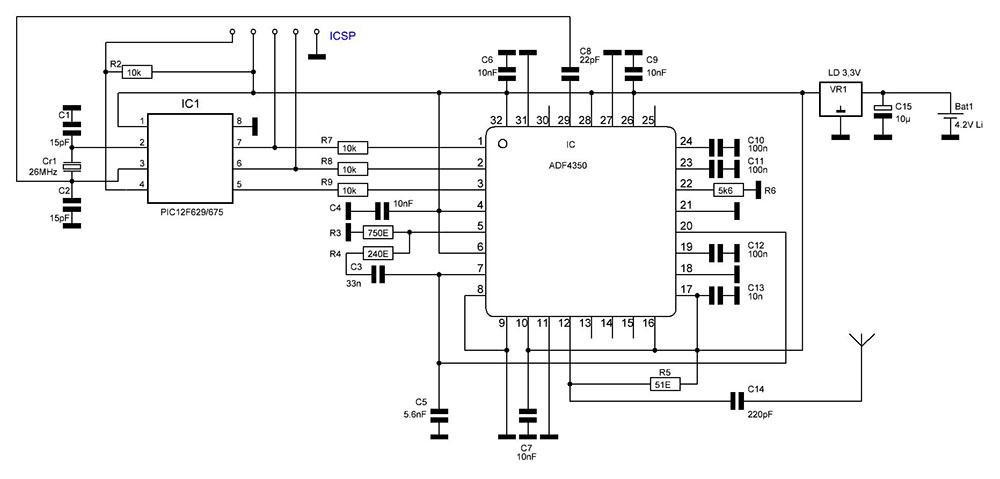 А это уже схема подавителя сигнала ГЛОНАСС, которую можно назвать более сложной