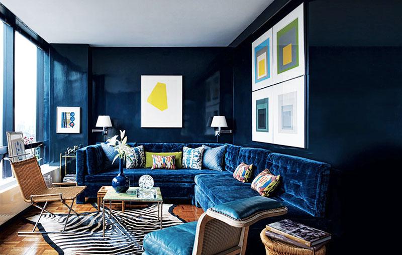 Как использовать синий цвет в интерьере