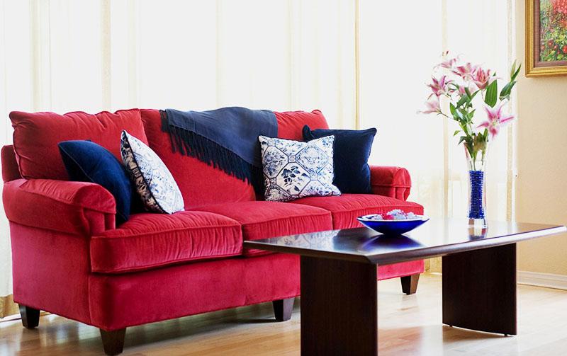 Если в квартире светлые стены, то сочетать синий и красный можно в декоре. Идеальный вариант – яркий диван любимого оттенка, на котором лежат подушки и пледы