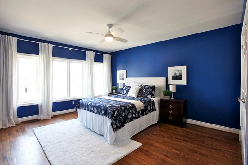 Для спальни с большими окнами идеальное решение – отделка стены матовой синей краской и разбавка цвета белыми занавесками, подушками и коврами. На стену повесьте несколько фотографий или картин в белых рамках