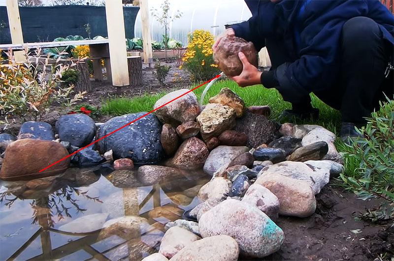 Камень со шлангом размещается в верхней точке под небольшим уклоном в сторону пруда