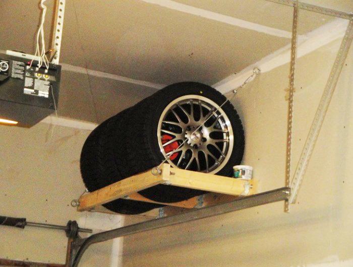 Хранение колёс на высокой полке
