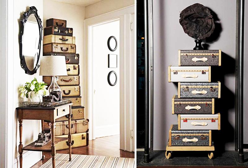 Из некоторых вещей можно создавать целые композиции – например, три или четыре чемодана вы можете сложить друг на друга, а сверху поставить картину в рамке или необычную статуэтку