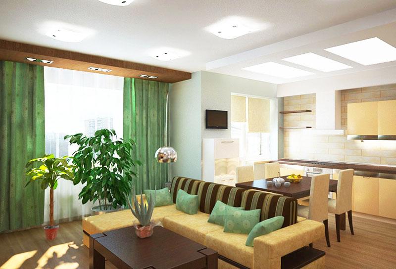 Если вы решили снести всю стену целиком, то для отделения кухни от гостиной можно использовать диван, расположенный по центру комнаты. Для экономии пространства сразу за диваном можно оборудовать обеденную зону, поставив небольшой стол на 2-4 человек