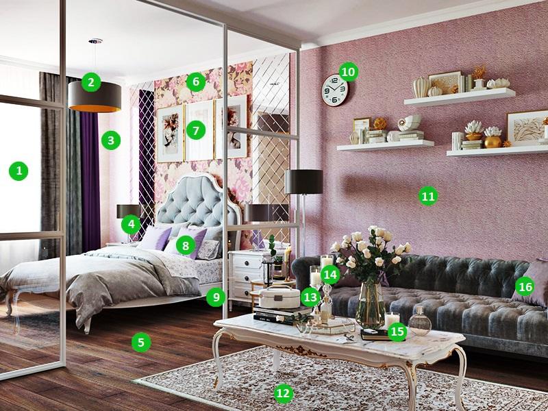 Оригинальное зонирование спальни-гостиной от Леруа Мерлен