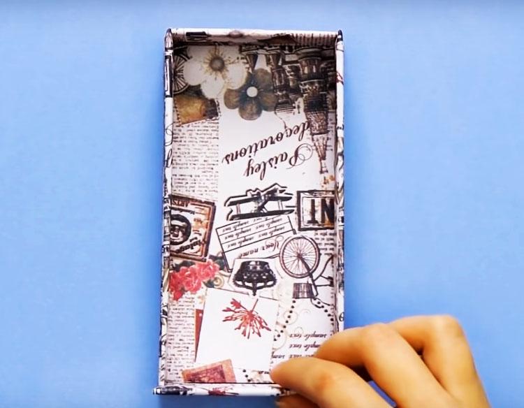 Оберните коробку декоративным покрытием из бумаги, плёнки или ткани