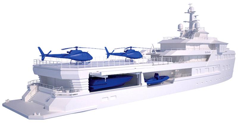 На яхте есть два вертолёта, батискаф для глубинного погружения, рассчитанный на трёх человек, 4 водных мотоцикла и 2 снегохода