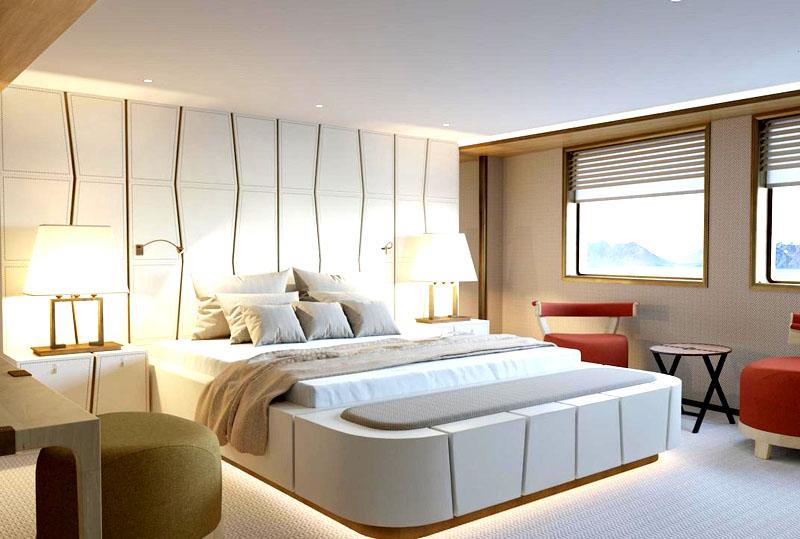 Белоснежная спальня для VIP пассажиров декорирована золотыми рейками