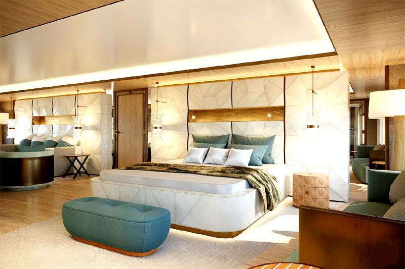 Роскоши в отделке придают золотые элементы на стенах, мебели и каркасах светильников