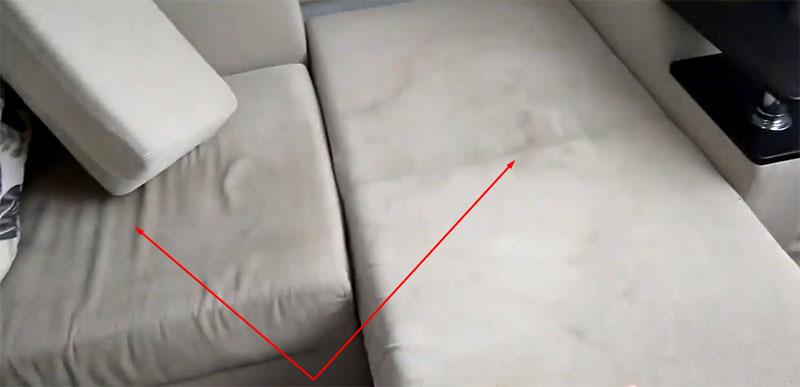 Обе секции углового дивана имеют одинаковые размеры