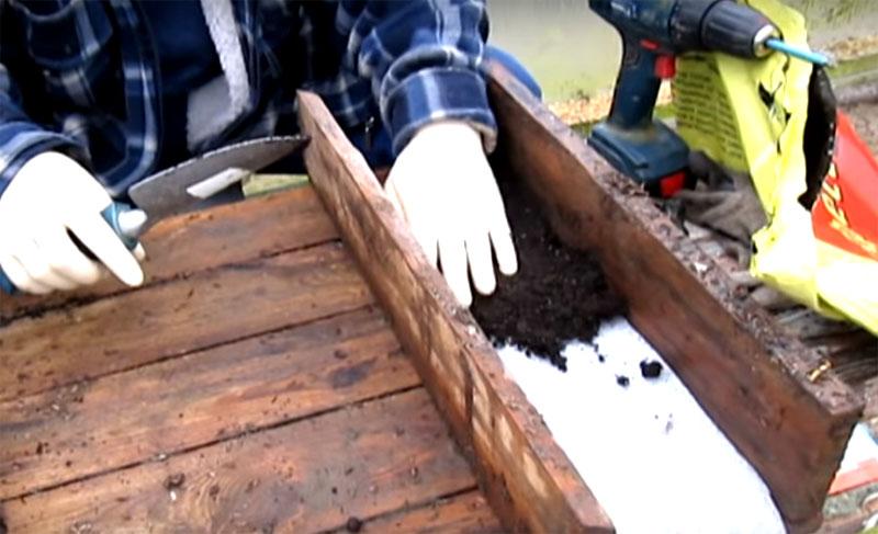 Насыпайте поверх ленты грунт высотой примерно 2-3 см. При скрутке грунт примнётся, и двух сантиметров уже не будет. Прижимайте землю слегка рукой, этого достаточно
