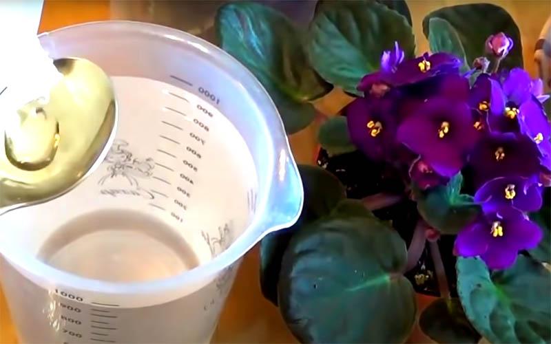 Средство нужно развести в воде. На литр воды добавьте полторы столовые ложки аммиака и тщательно размешайте