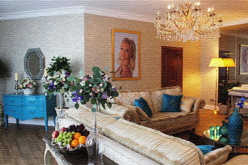 Консоль за диваном изготовлена из массива