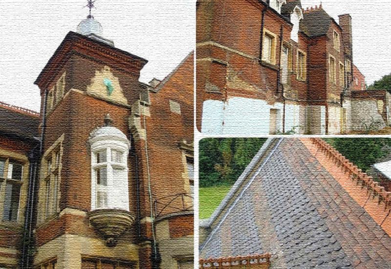 На фасаде заметны восстановительные работы, которые проводили прежние владельцы дворца