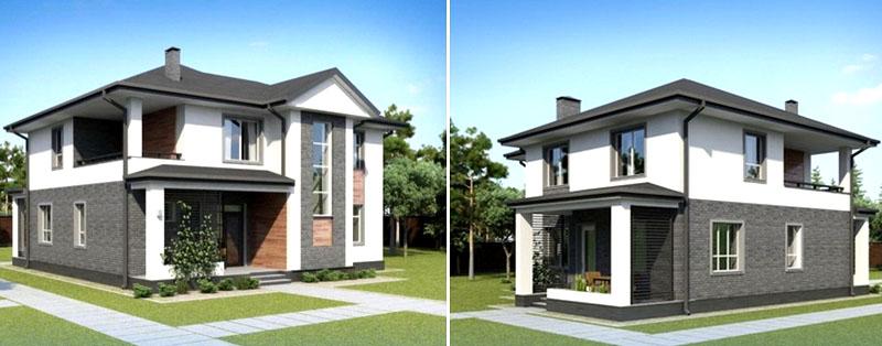 Нижняя часть фасада отделана плиткой серого оттенка, верхняя − покрашена белоснежной краской