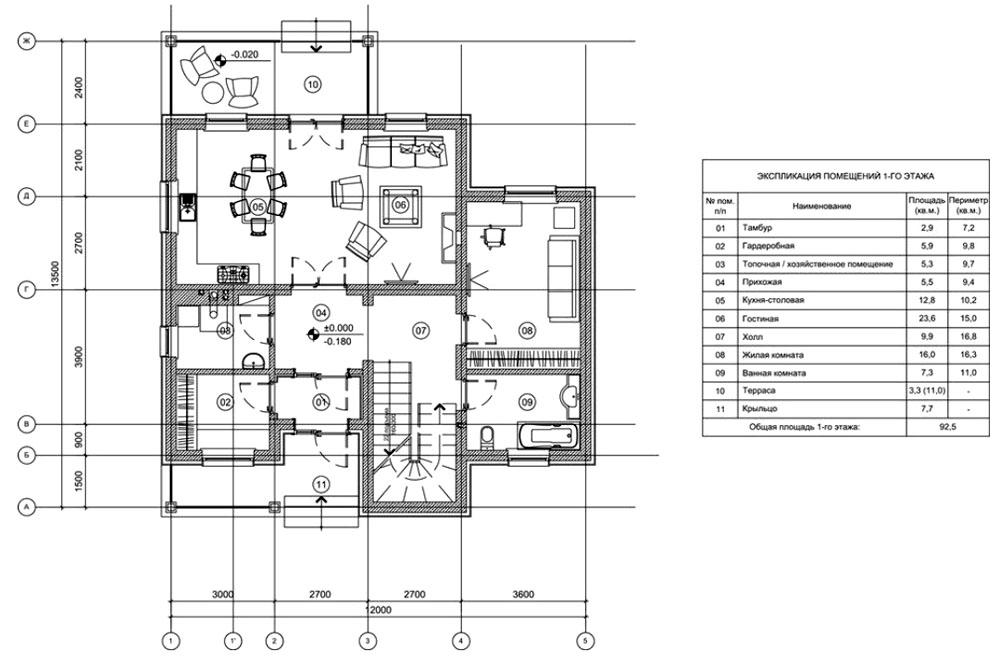 Планировка 1-го этажа
