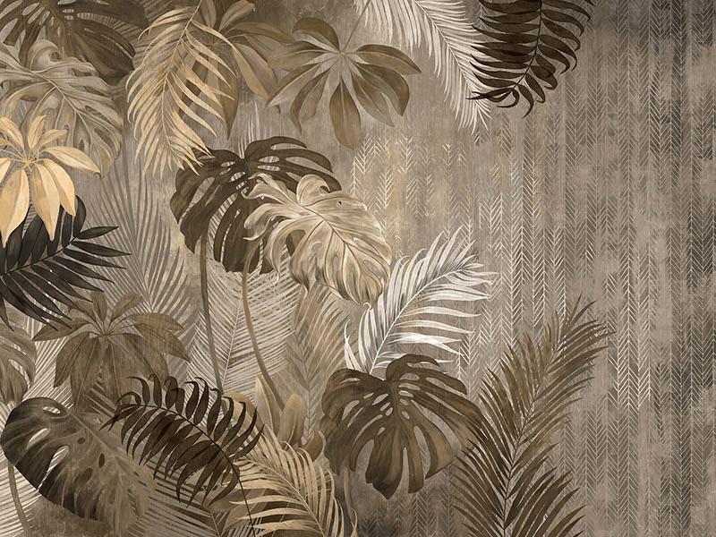 Для акцентной стены выбрали фреску с растительным принтом