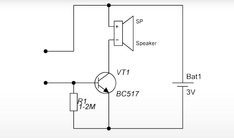 Схема сборки сигнализатора протечки, включающая последовательность соединения транзистора, батарейки, резистора и пищалки
