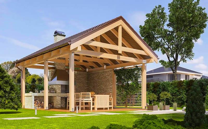 Вы можете усовершенствовать конструкцию, добавив вытяжную трубу и установив вместо стен деревянные панели, за которые можно закрепить вьющиеся растения вроде плюща