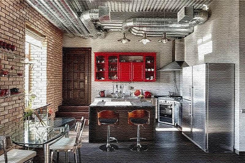 По центру кухни поставили хромированный стол со стеклянной столешницей