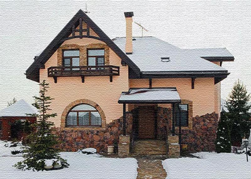 Домик Шуры похож на альпийское шале благодаря отделке из декоративного кирпича и клинкерной плитке