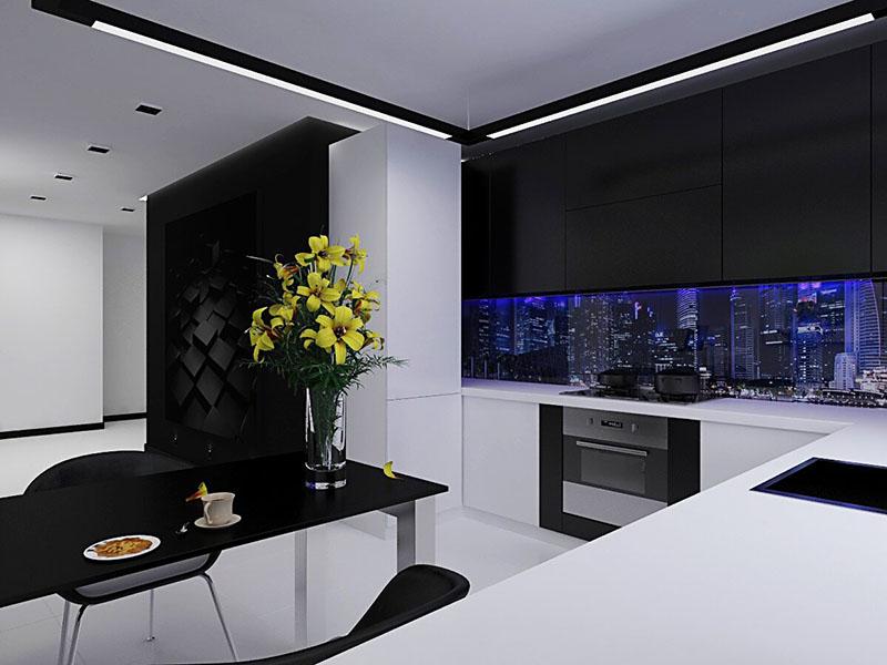Вариант кухни в стиле хай-тек, сочетание чёрного и белого цветов