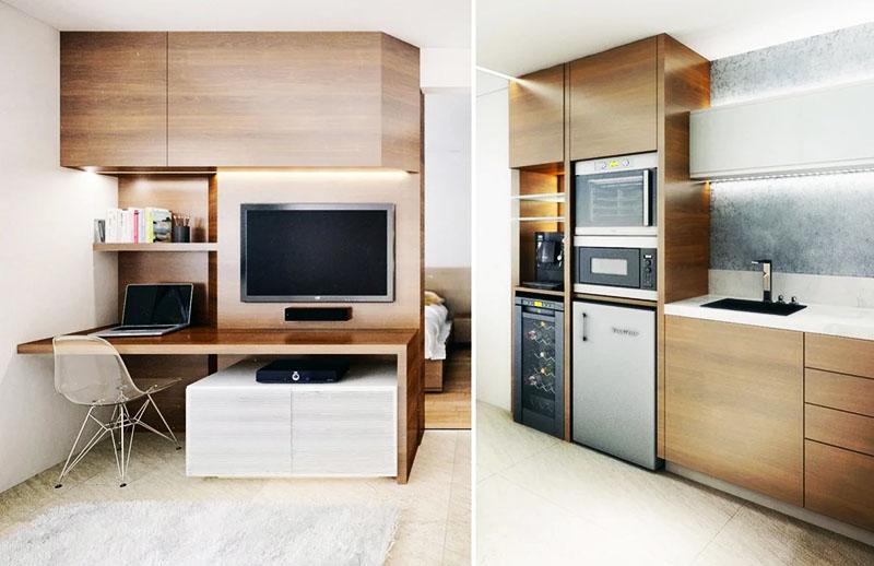 Встроенная техника на кухне и в гостиной, включая холодильник для вина и морозильник