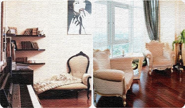 В музыкальной зоне поставили изысканный диван-софу, украшенный ручной резьбой