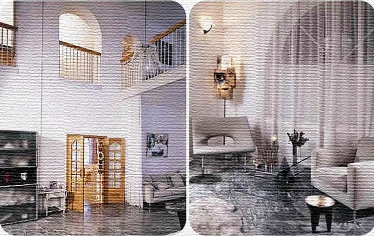 Гостиная со вторым светом и арочными большими окнами очень похожа на храм