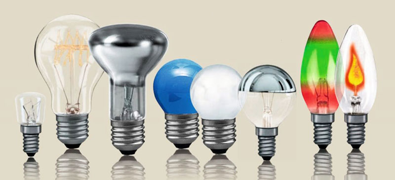 Варианты формы и цвета колбы лампы
