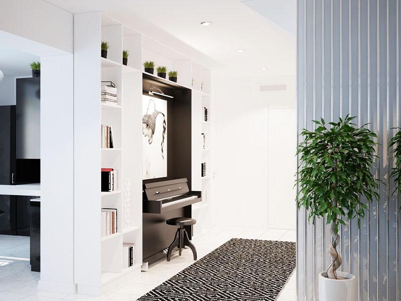 В небольшом коридоре, ведущем в гостиную, достойное место заняло современное пианино в портале из открытых стеллажей для книг