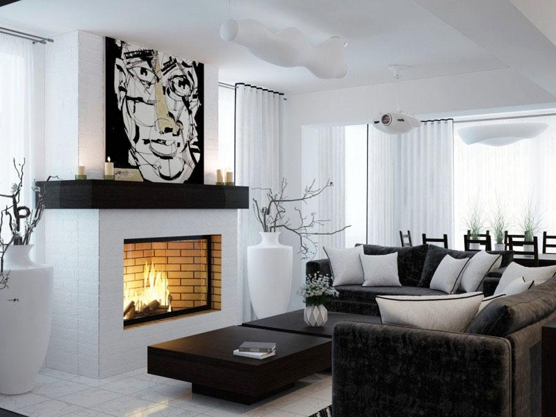 Над камином повесили экстравагантное чёрно-белое полотно в стиле авангардизм