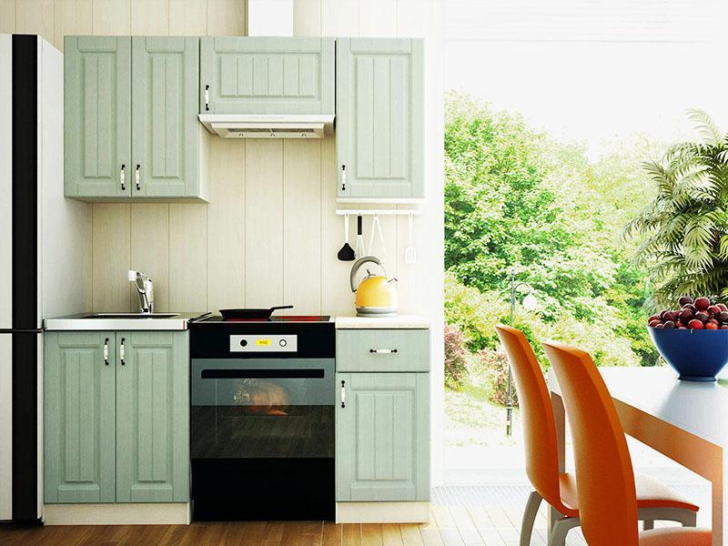 Если вы хотите сэкономить, то можете купить маленький кухонный гарнитур, а в качестве рабочей зоны использовать обеденный стол