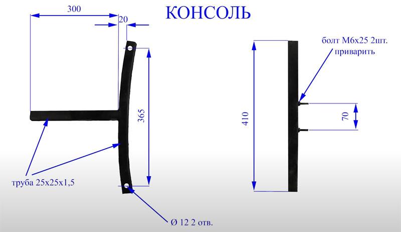 Консоль предназначена для размещения на ней роликов, которые будут поддерживать наждачную ленту