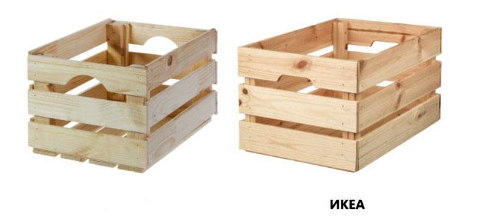 Размер ящиков Леруа – 45×30×24,1 см (слева), цена – 542 руб. Размер ящиков ИКЕА – 46×31×25 см, цена – 699 руб. (справа)