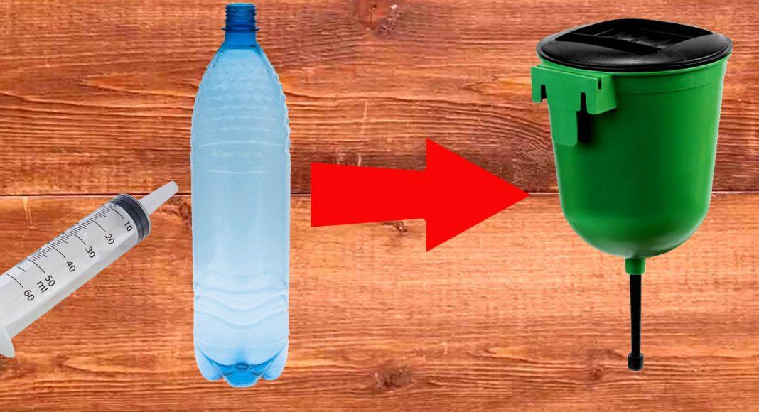 Умывальник для дачи из шприца и ПЭТ бутылки