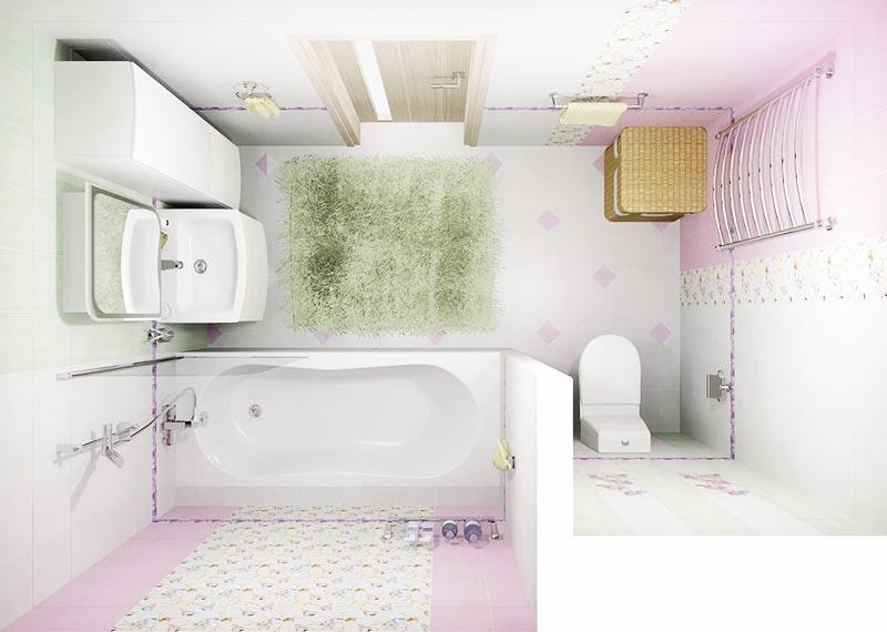 Пастельные тона кафельной плитки помогут визуально расширить пространство