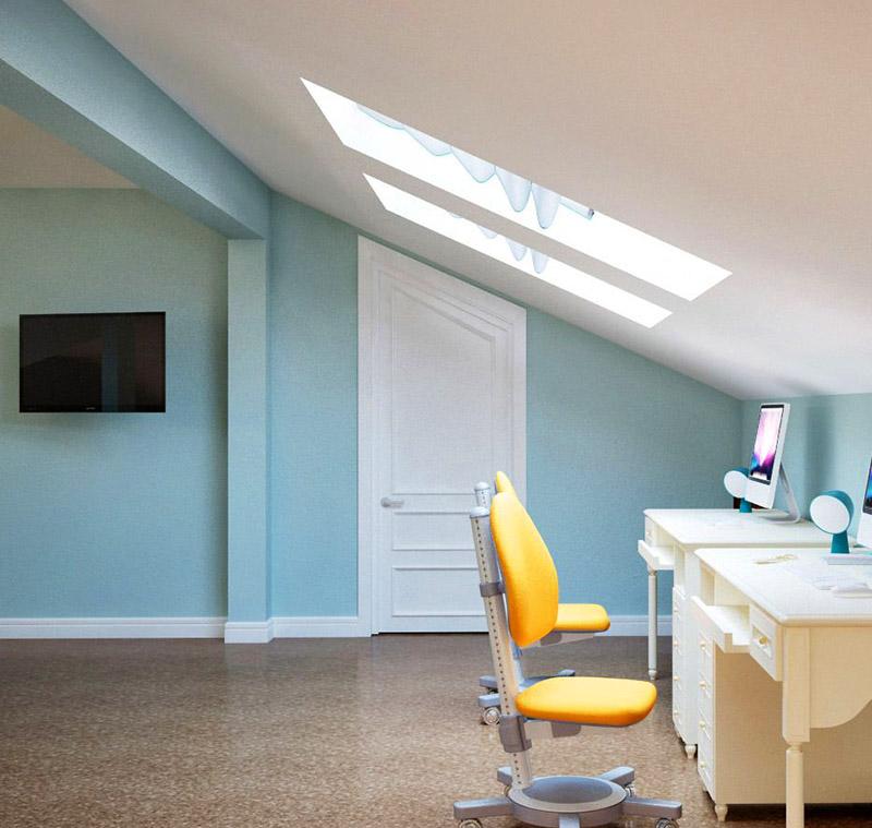 Главное в организации кабинета на чердаке – правильное освещение рабочего места