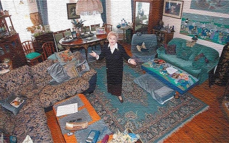 В гостиной в тон к общему интерьеру подобраны шторы из плотной ткани синего цвета
