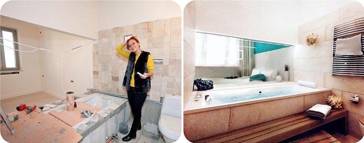 Между спальней и ванной комнатой установлена стеклянная перегородка с затемнением