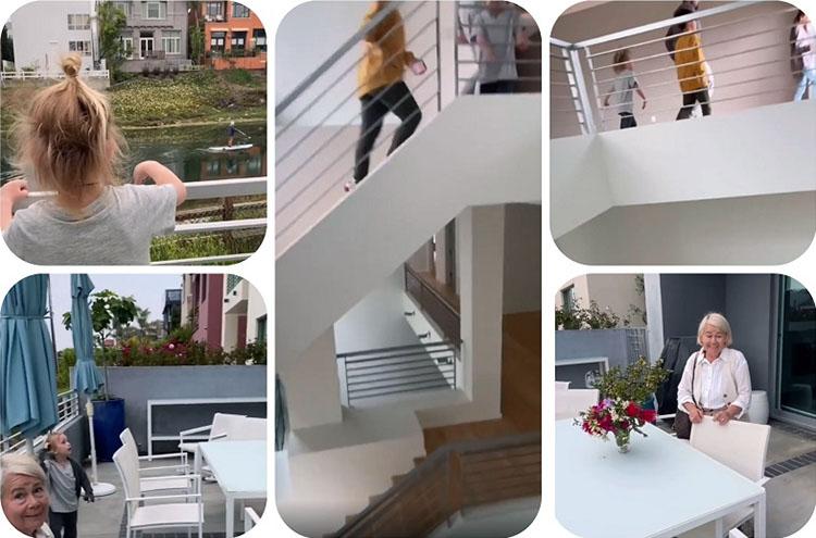 На верхние этажи ведёт бетонная белоснежная лестница с металлическим ограждением в стиле минимализм