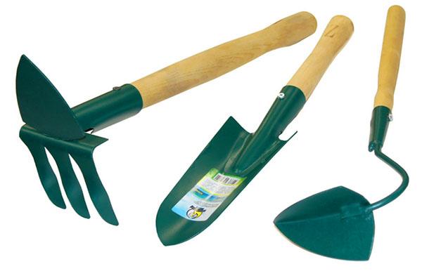 В наборе инструментов ручки выполнены из дерева
