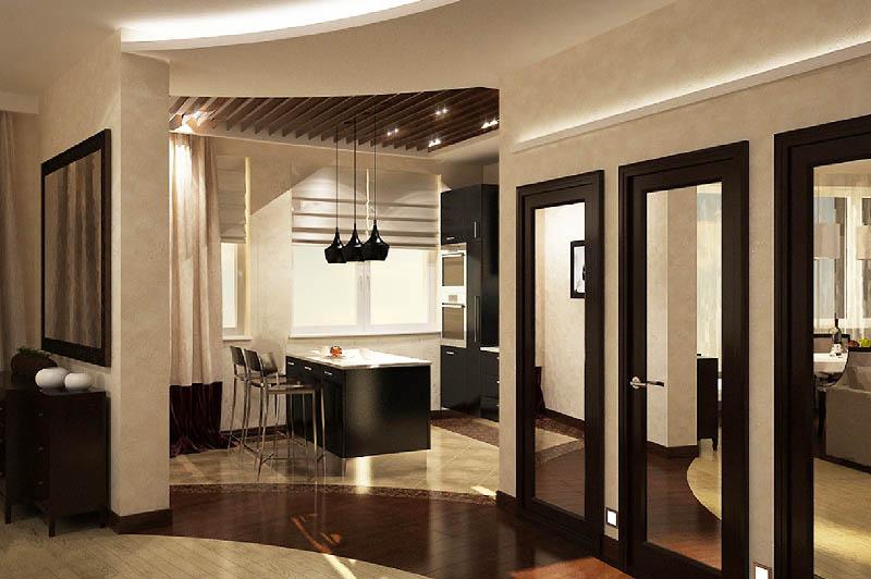 Окна на кухне украсили римскими шторами из плотной ткани и портьерами в бежево-коричневой гамме