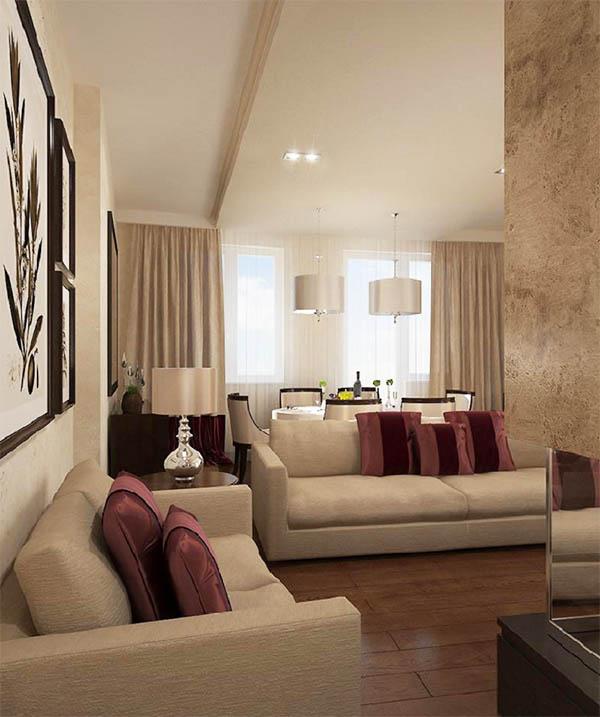 В качестве украшения гостиной выступают контрастные декоративные подушки и стильные панно с растительными аппликациями
