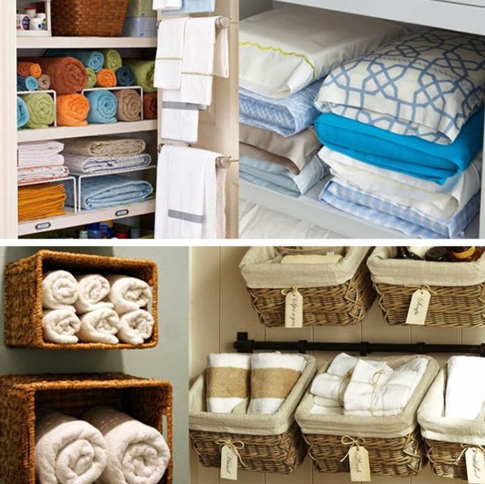 Варианты хранения белья в шкафу
