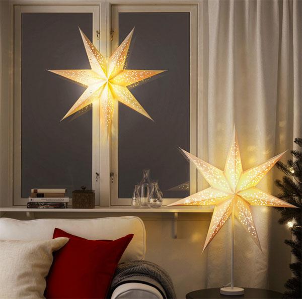 Вы можете использовать не один, а несколько абажуров для праздничного освещения