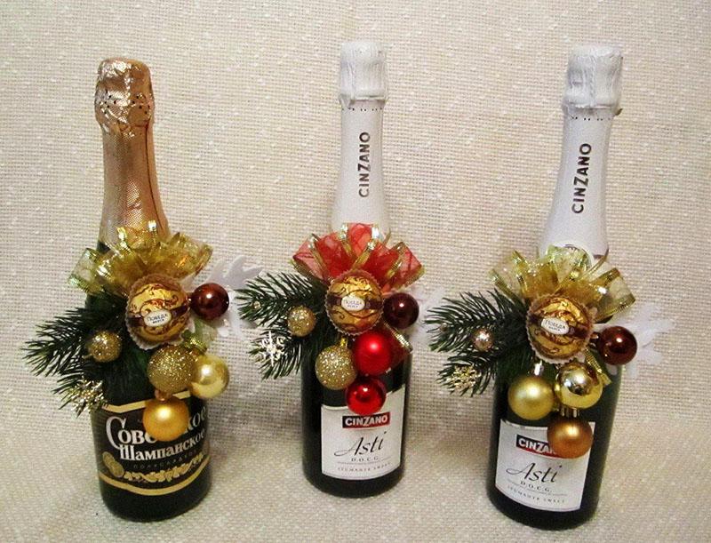 Декорирование бутылки шампанского
