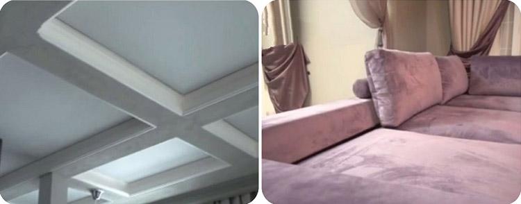 Элегантный серый цвет потолка эффектно сочетается с сиреневой обивкой дивана